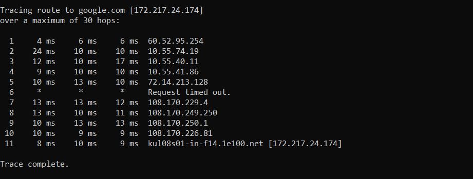 tracert command output